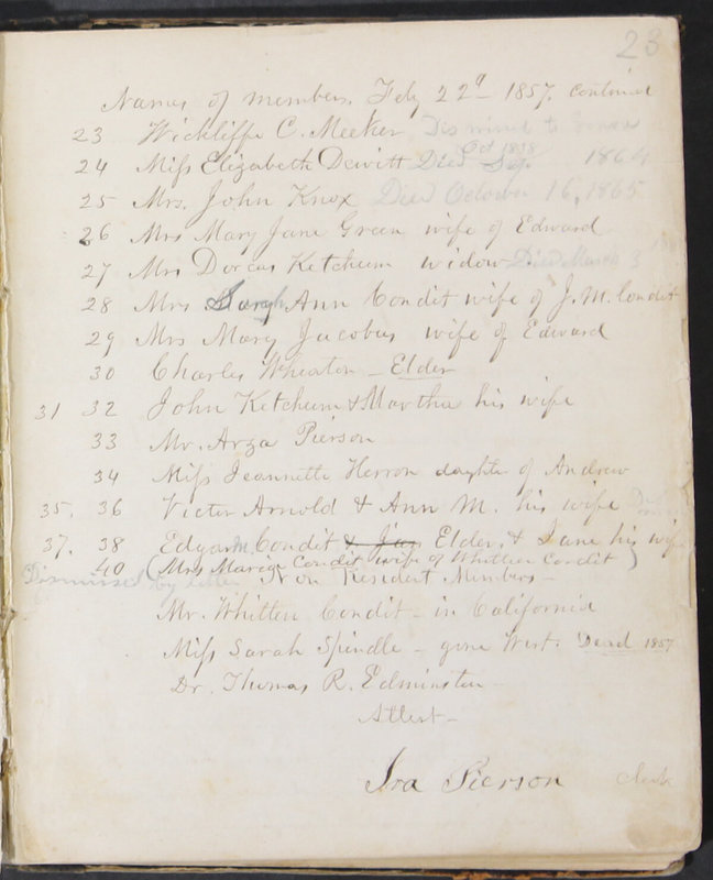 Sessional Records of the 1st Presbyterian Church of Trenton, Delaware Co., Ohio, 1831 (p. 29)