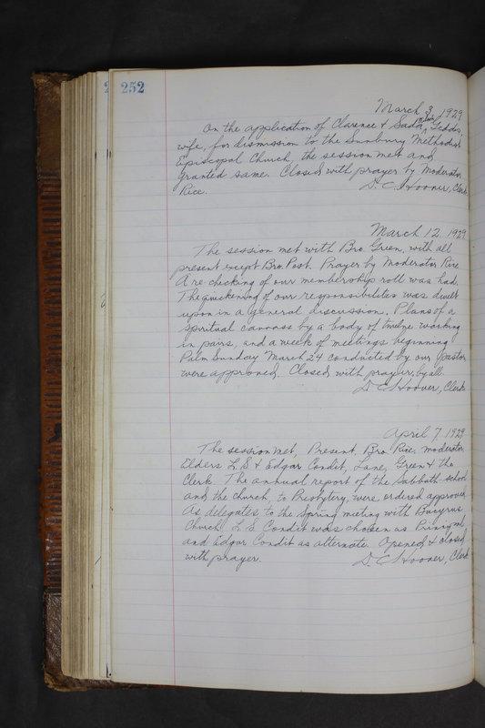 Sessional Records of the 1st Presbyterian Church of Trenton Delaware County Ohio 1873-1937 (p. 240)