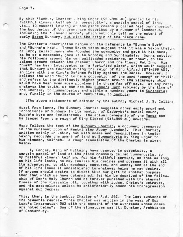 The Origin of the Name Sunbury (p. 7)