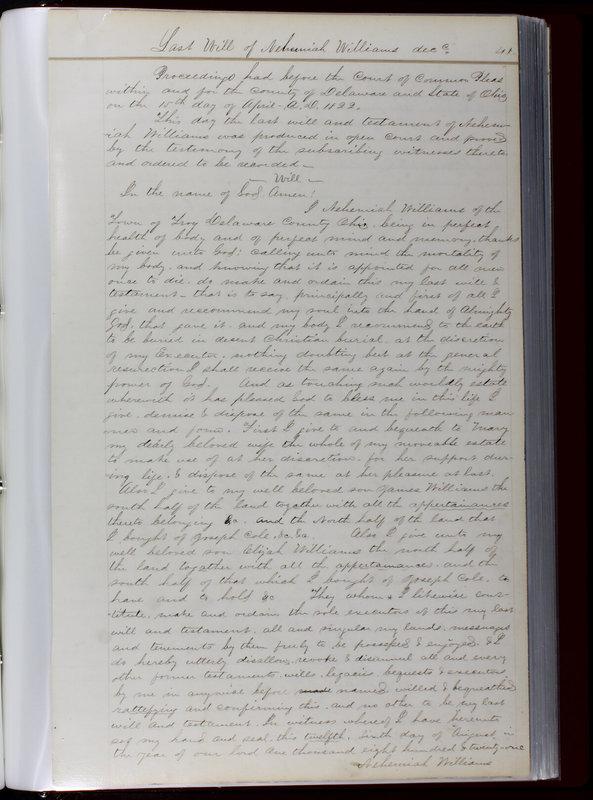 Delaware County Ohio Will Records Vol. 1 1812-1835 (p. 73)