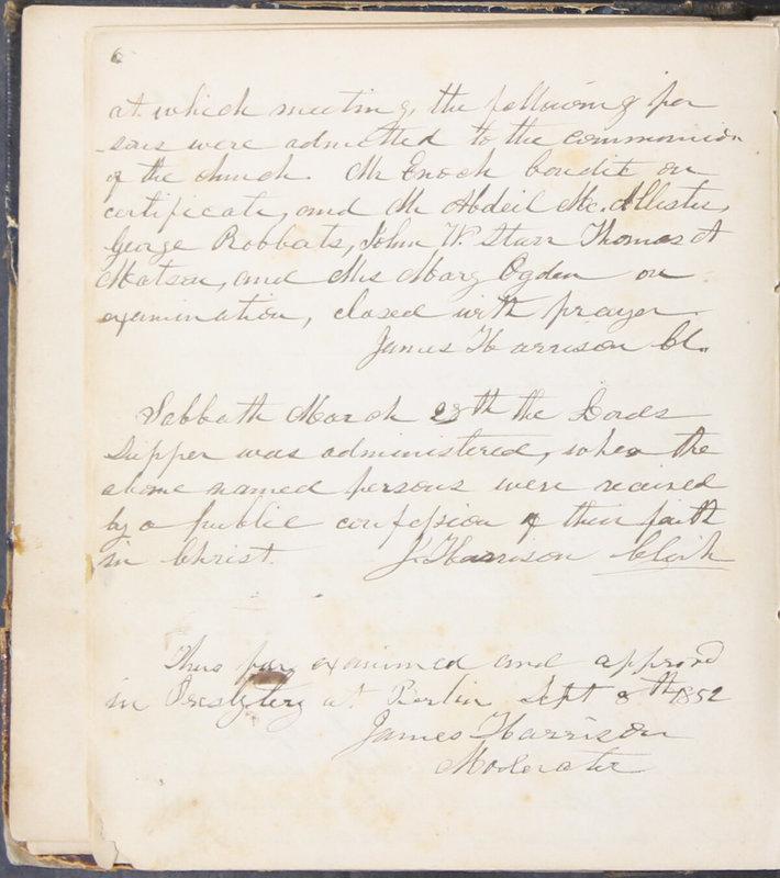 Sessional Records of the 1st Presbyterian Church of Trenton, Delaware Co., Ohio, 1831 (p. 12)