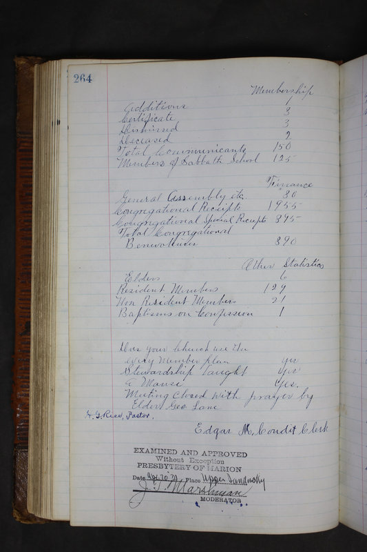 Sessional Records of the 1st Presbyterian Church of Trenton Delaware County Ohio 1873-1937 (p. 251)