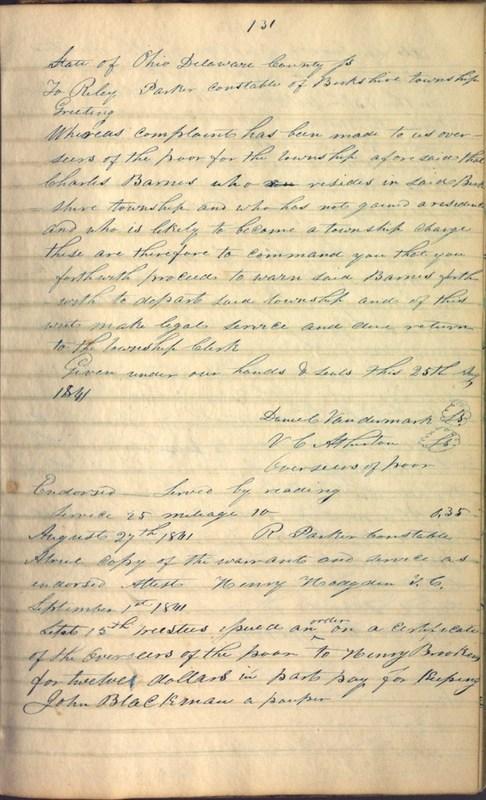 Record Book of Berkshire Township No. 2 1807-1843 (p. 145)