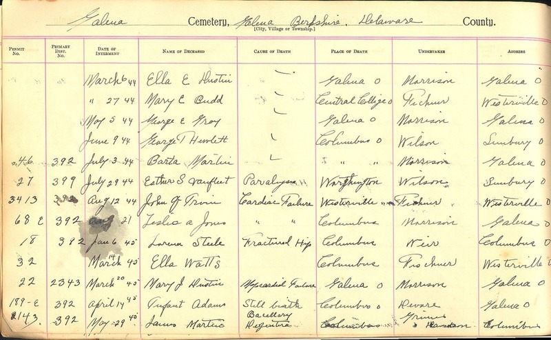 Cemetery Record Galena and Berkshire Cemetery (p. 27)