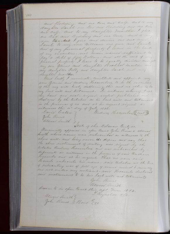 Delaware County Ohio Will Records Vol. 1 1812-1835 (p. 152)