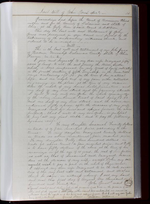 Delaware County Ohio Will Records Vol. 1 1812-1835 (p. 85)
