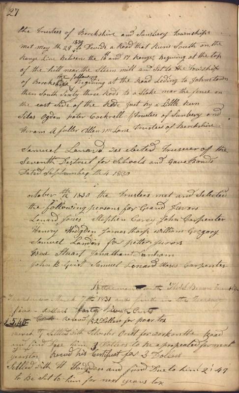 Record Book of Berkshire Township No. 2 1807-1843 (p. 40)
