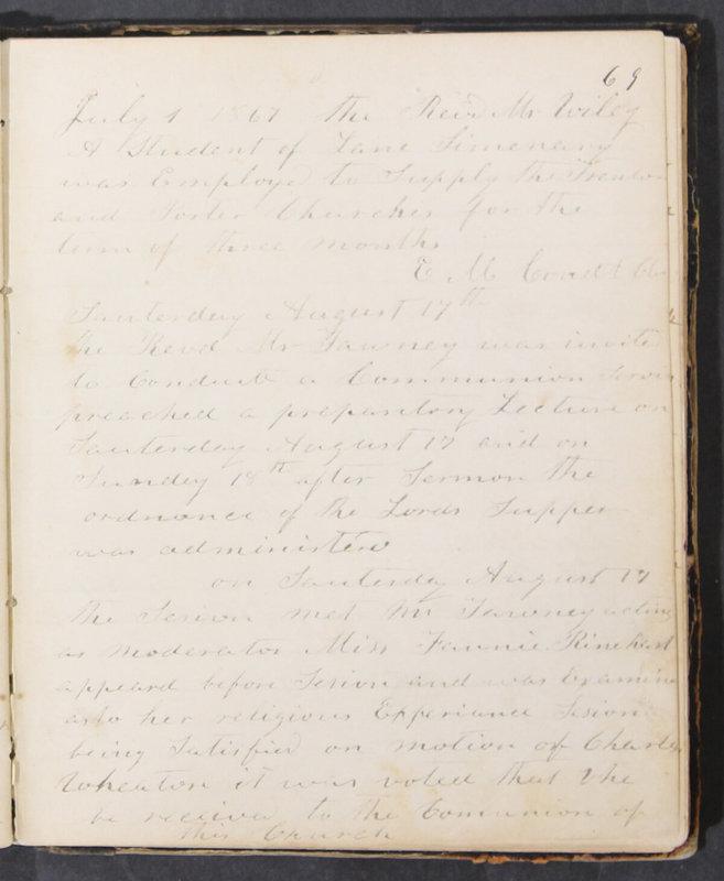 Sessional Records of the 1st Presbyterian Church of Trenton, Delaware Co., Ohio, 1831 (p. 75)
