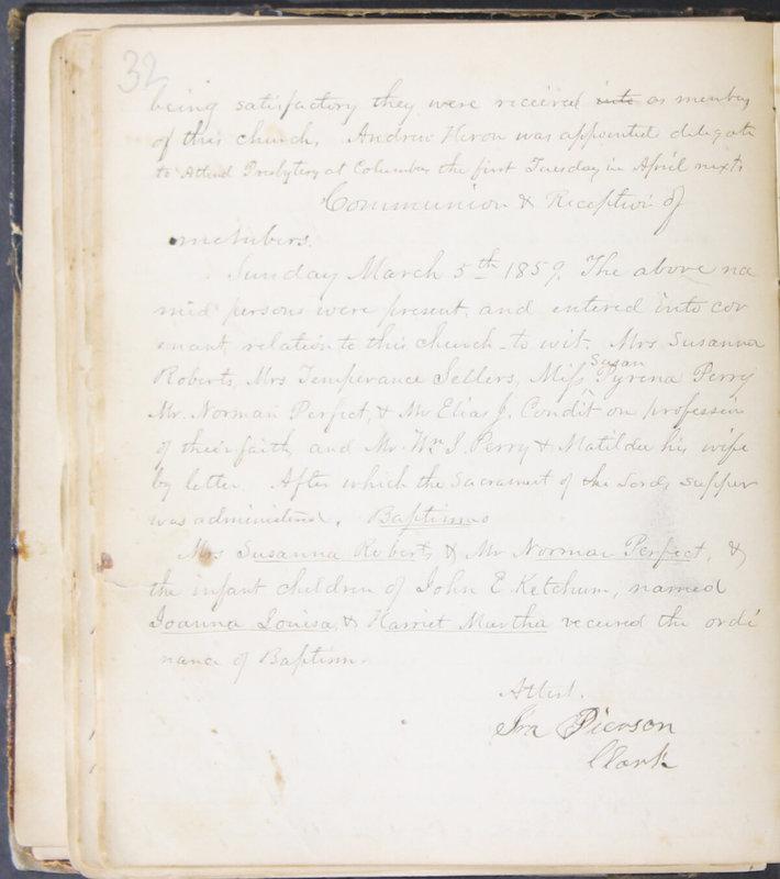 Sessional Records of the 1st Presbyterian Church of Trenton, Delaware Co., Ohio, 1831 (p. 38)