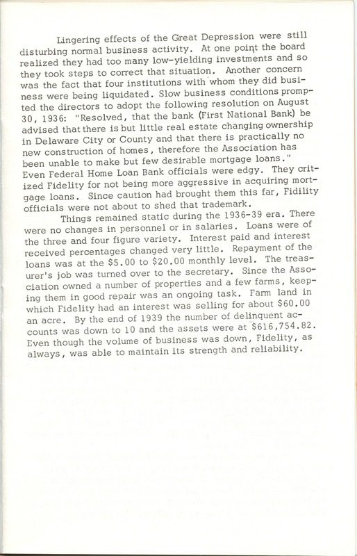 Fidelity Federal Savings and Loan Association 100 Years (p. 12)