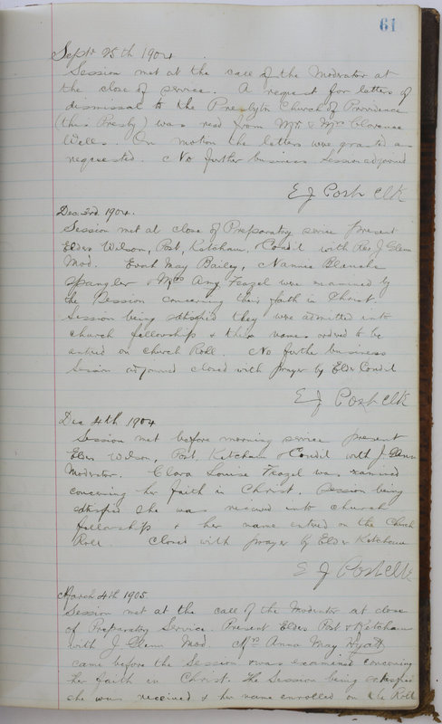 Sessional Records of the 1st Presbyterian Church of Trenton Delaware County Ohio 1873-1937 (p. 65)