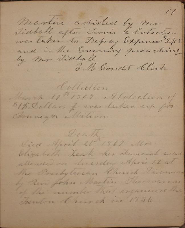 Sessional Records of the 1st Presbyterian Church of Trenton, Delaware Co., Ohio, 1831 (p. 67)