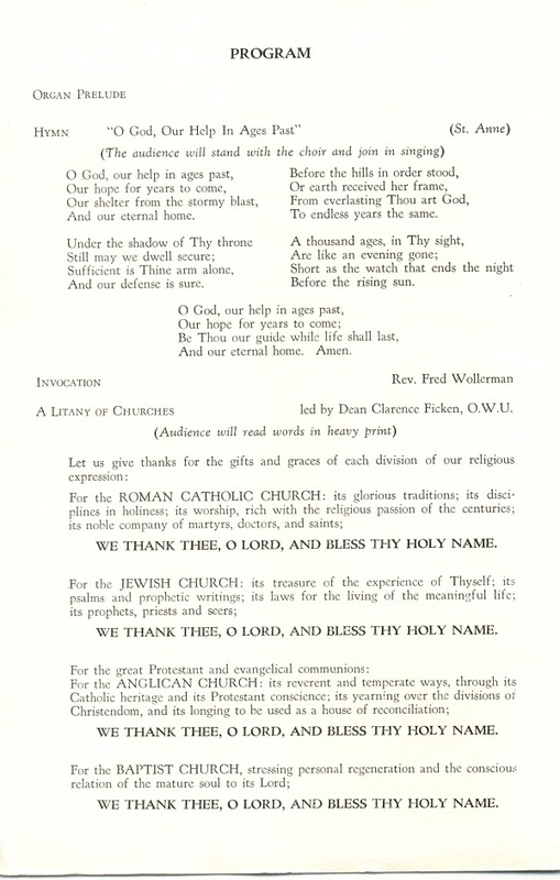 Religious Heritage Program of the Sesquicentennial Celebration of the County of Delaware, Ohio (p. 2)