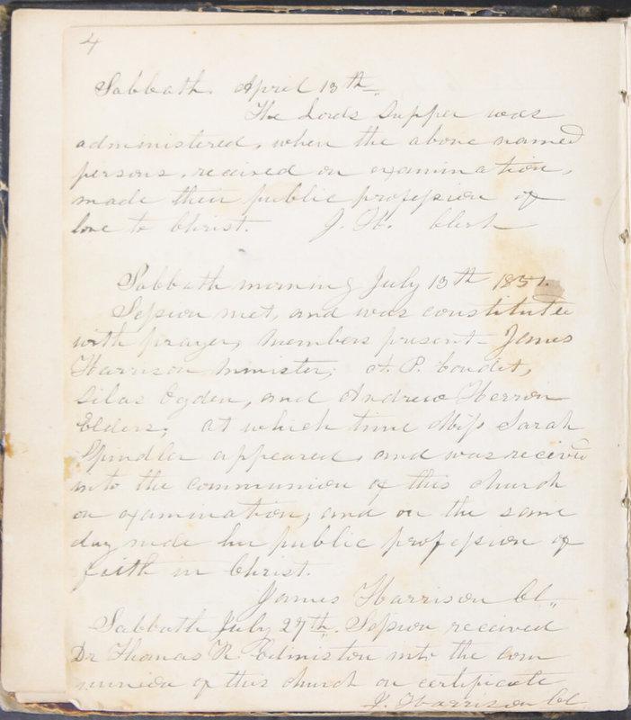 Sessional Records of the 1st Presbyterian Church of Trenton, Delaware Co., Ohio, 1831 (p. 10)