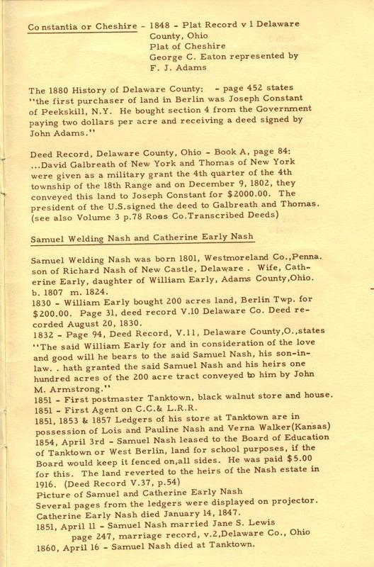 Berlin Township Program of the Delaware County Historical Society (p. 13)