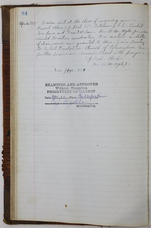 Sessional Records of the 1st Presbyterian Church of Trenton Delaware County Ohio 1873-1937 (p. 98)