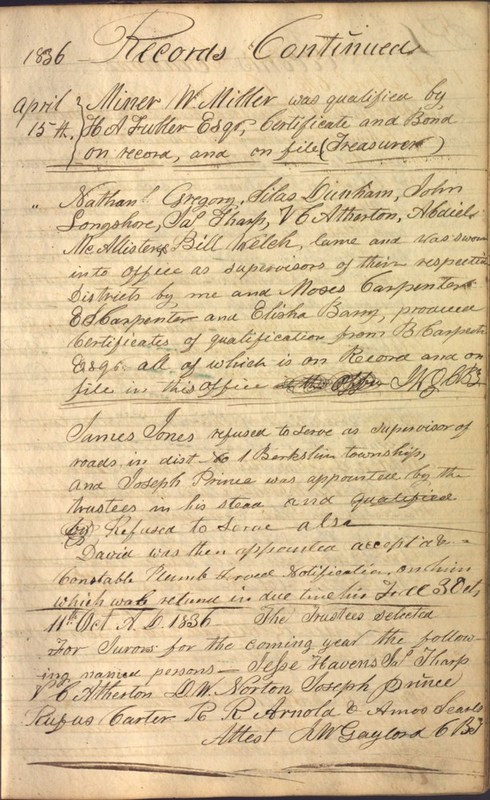 Record Book of Berkshire Township No. 2 1807-1843 (p. 63)