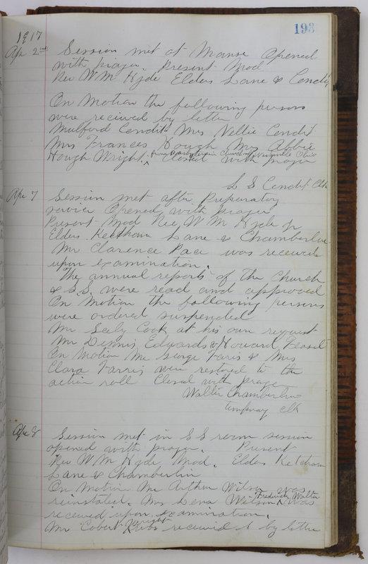 Sessional Records of the 1st Presbyterian Church of Trenton Delaware County Ohio 1873-1937 (p. 181)