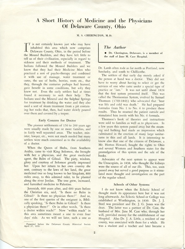 A Short History of Medicine and the Physicians Of Delaware County, Ohio (p. 2)