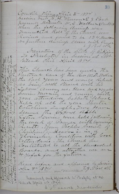 Sessional Records of the 1st Presbyterian Church of Trenton Delaware County Ohio 1873-1937 (p. 43)