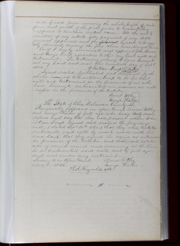 Delaware County Ohio Will Records Vol. 1 1812-1835 (p. 115)