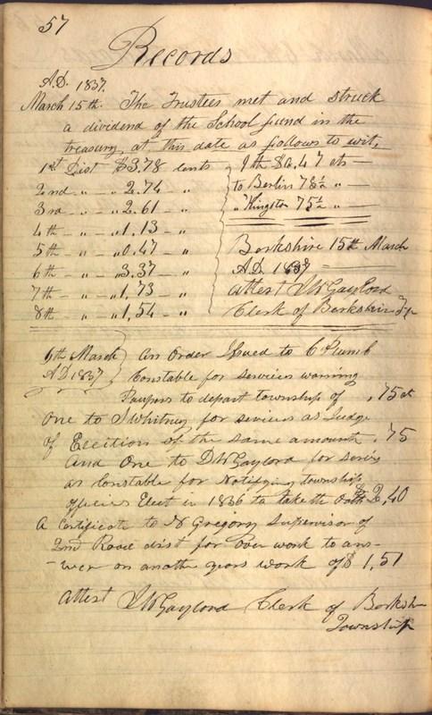 Record Book of Berkshire Township No. 2 1807-1843 (p. 70)