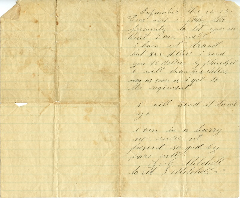 Mitchell Family Civil War Letters (p. 1)
