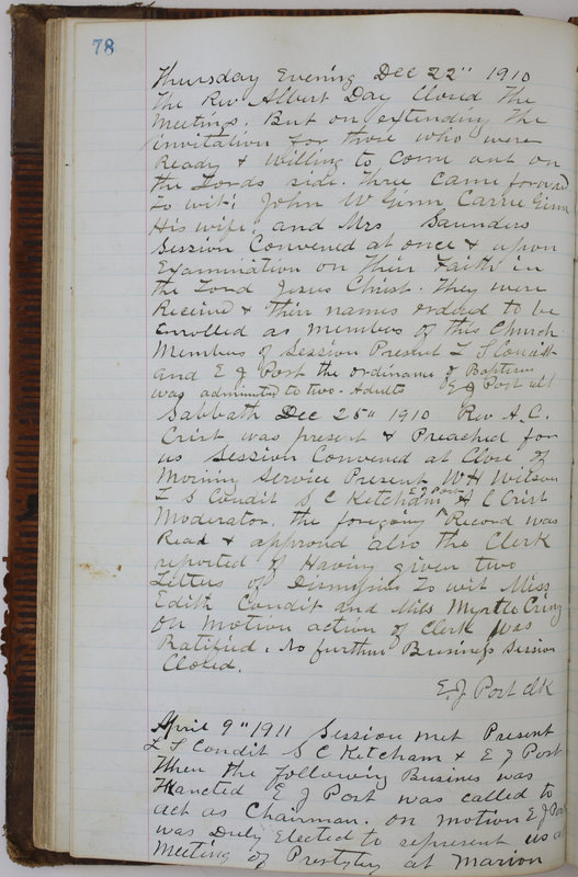 Sessional Records of the 1st Presbyterian Church of Trenton Delaware County Ohio 1873-1937 (p. 82)