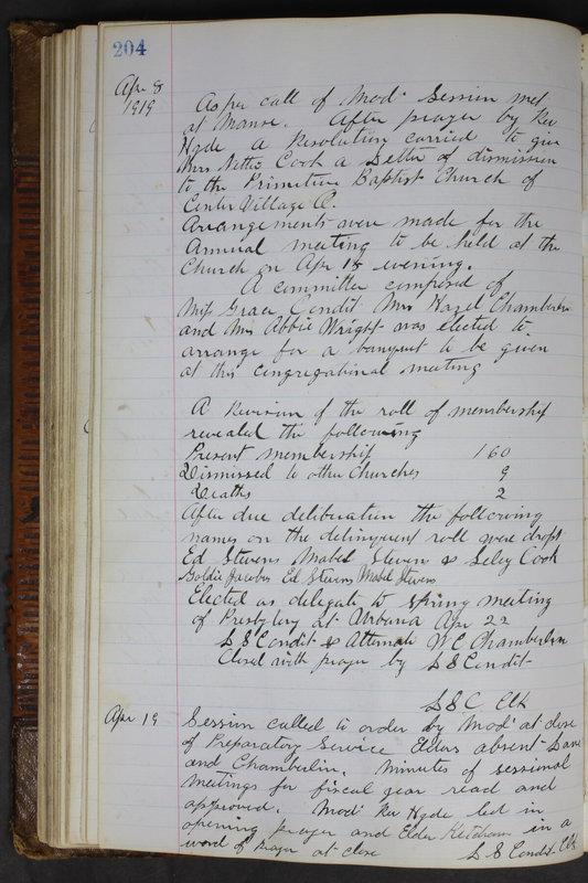Sessional Records of the 1st Presbyterian Church of Trenton Delaware County Ohio 1873-1937 (p. 192)