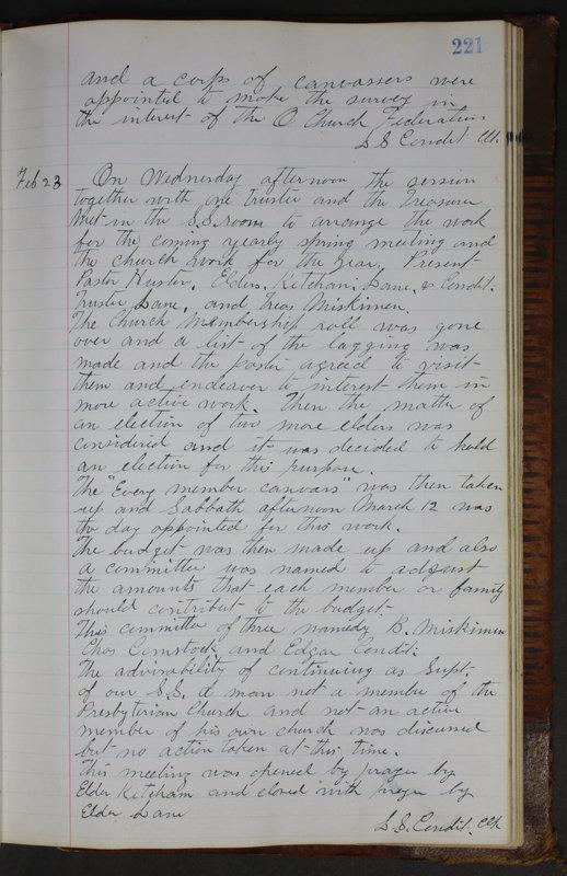 Sessional Records of the 1st Presbyterian Church of Trenton Delaware County Ohio 1873-1937 (p. 209)