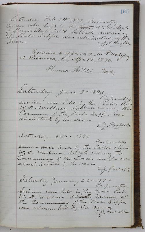 Sessional Records of the 1st Presbyterian Church of Trenton Delaware County Ohio 1873-1937 (p. 155)