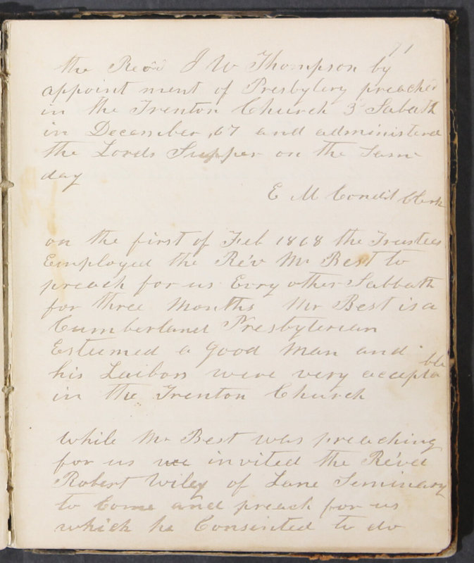 Sessional Records of the 1st Presbyterian Church of Trenton, Delaware Co., Ohio, 1831 (p. 77)