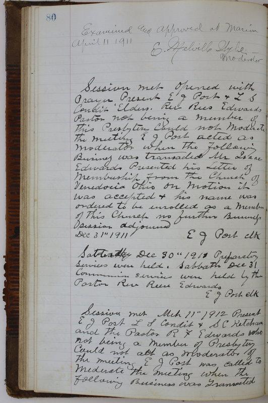 Sessional Records of the 1st Presbyterian Church of Trenton Delaware County Ohio 1873-1937 (p. 84)