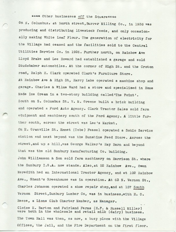 The Sunbury and Galena Communities and how they were in 1938 when Sunbury Lions Club Originated (p. 7)