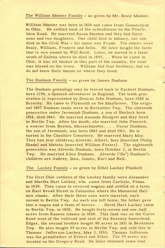 Berlin Township Program of the Delaware County Historical Society (p. 10)