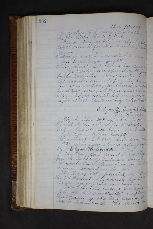 Sessional Records of the 1st Presbyterian Church of Trenton Delaware County Ohio 1873-1937 (p. 250)