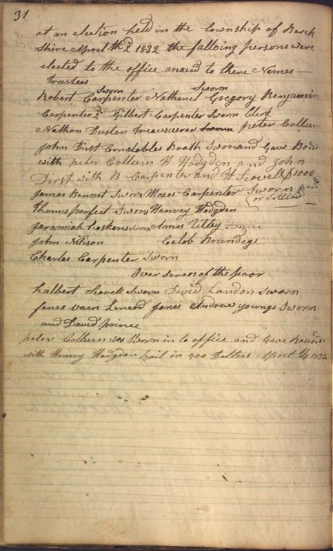 Record Book of Berkshire Township No. 2 1807-1843 (p. 44)