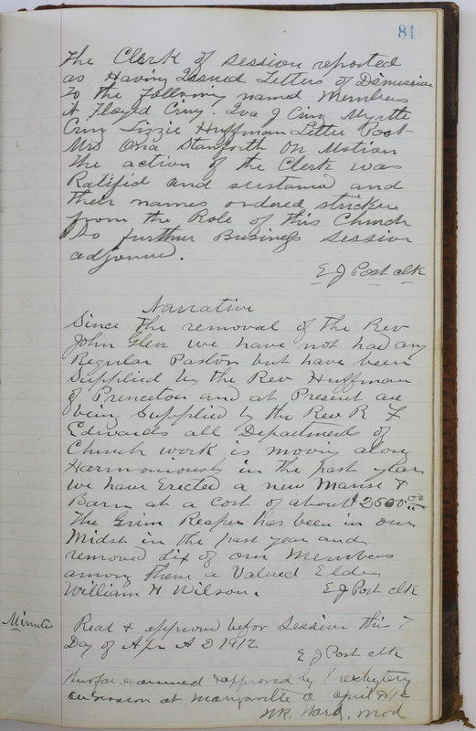 Sessional Records of the 1st Presbyterian Church of Trenton Delaware County Ohio 1873-1937 (p. 85)