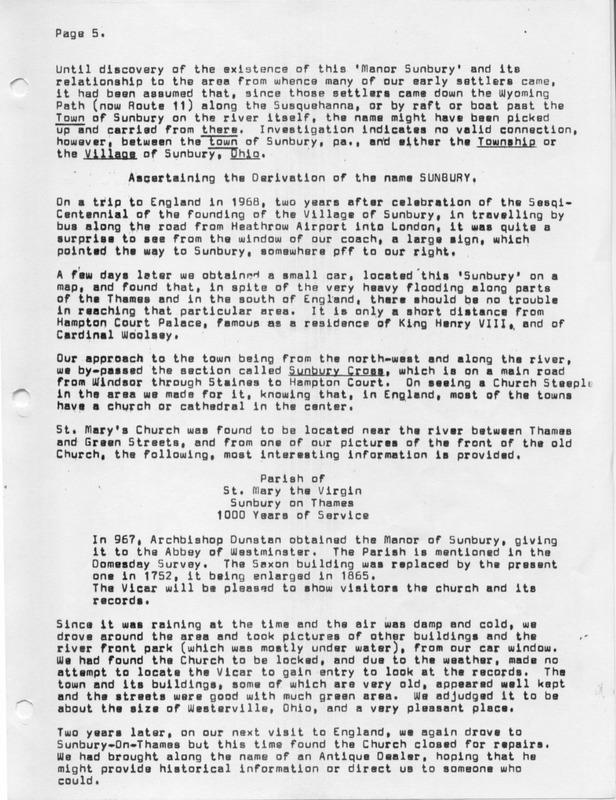 The Origin of the Name Sunbury (p. 5)