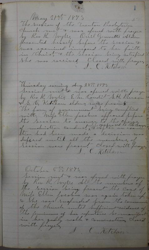 Sessional Records of the 1st Presbyterian Church of Trenton Delaware County Ohio 1873-1937 (p. 7)