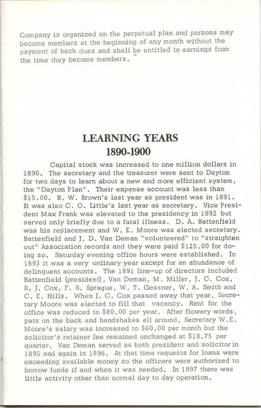 Fidelity Federal Savings and Loan Association 100 Years (p. 6)