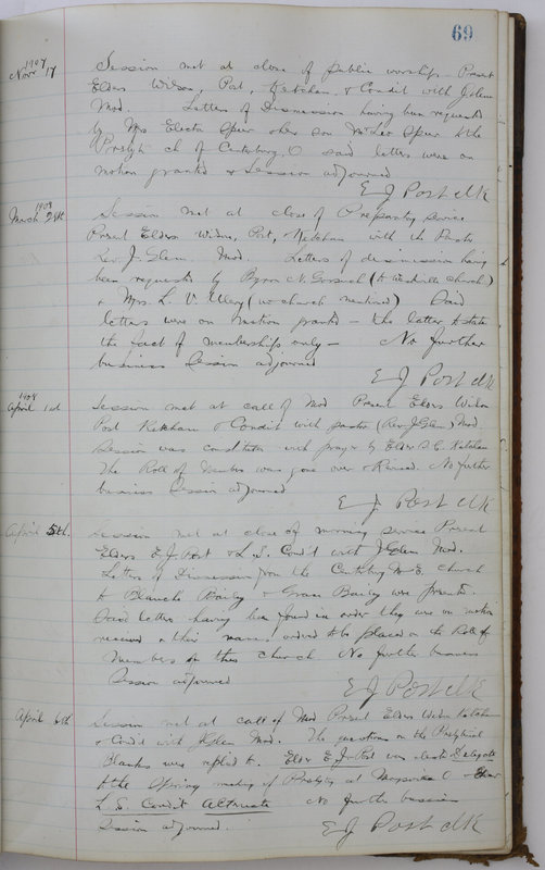 Sessional Records of the 1st Presbyterian Church of Trenton Delaware County Ohio 1873-1937 (p. 73)