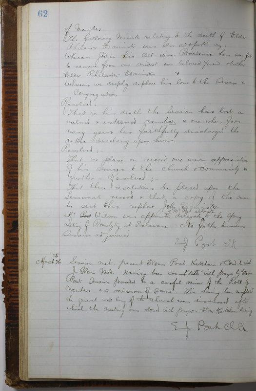 Sessional Records of the 1st Presbyterian Church of Trenton Delaware County Ohio 1873-1937 (p. 66)