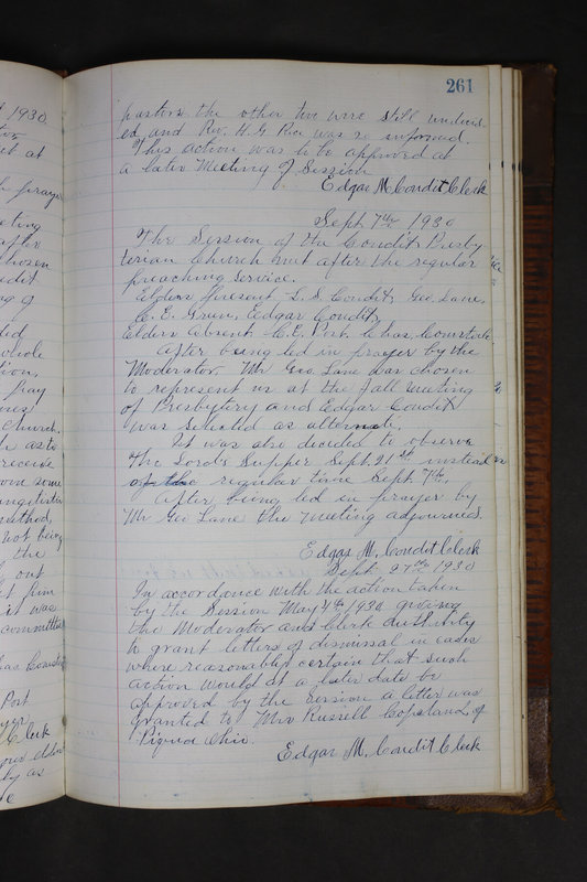 Sessional Records of the 1st Presbyterian Church of Trenton Delaware County Ohio 1873-1937 (p. 249)