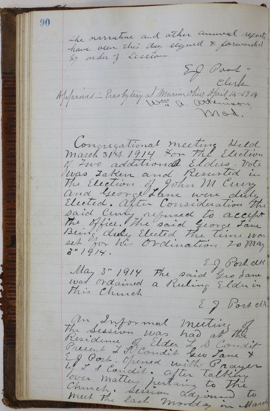 Sessional Records of the 1st Presbyterian Church of Trenton Delaware County Ohio 1873-1937 (p. 94)