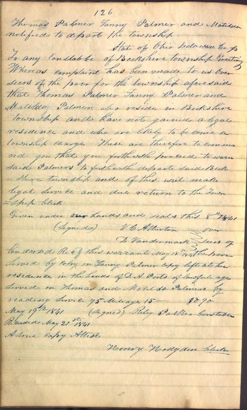 Record Book of Berkshire Township No. 2 1807-1843 (p. 140)