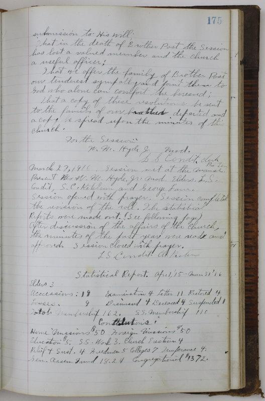 Sessional Records of the 1st Presbyterian Church of Trenton Delaware County Ohio 1873-1937 (p. 165)
