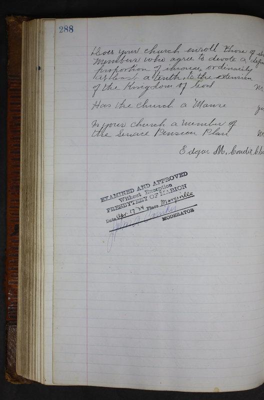 Sessional Records of the 1st Presbyterian Church of Trenton Delaware County Ohio 1873-1937 (p. 275)