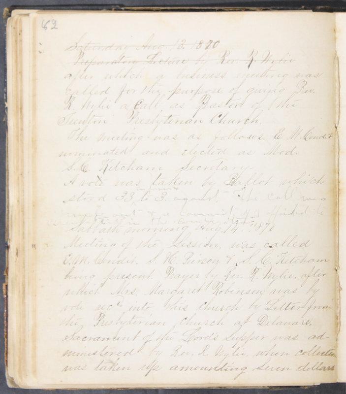 Sessional Records of the 1st Presbyterian Church of Trenton, Delaware Co., Ohio, 1831 (p. 88)