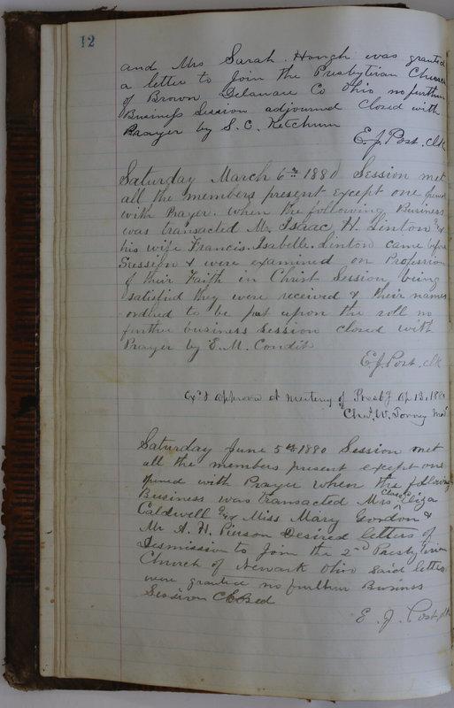 Sessional Records of the 1st Presbyterian Church of Trenton Delaware County Ohio 1873-1937 (p. 16)